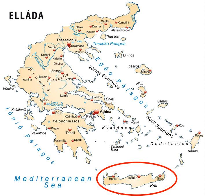 Griechenlandkarte mit Hauptstädten